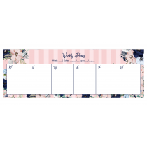 Pink Stripes Evening Garden Desk Weekly Planner