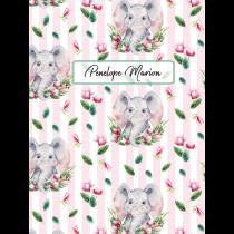 Cute Friends Elephant Pink Stripes Pattern