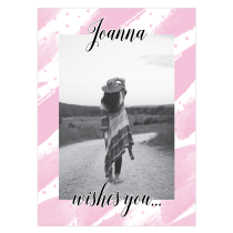 Pink Wishes Personalized Greeting Card