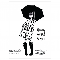 Rainy walks & you Folded Greeting Card | Virginia Romo