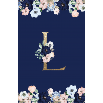 Royal Blue Monogram  Evening Garden Notebook/Agenta
