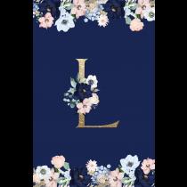 Royal Blue Monogram  Evening Garden Notebook/Agenta
