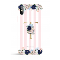 Pink White Stripes  Monogram  Evening Garden PHONE CASE
