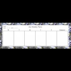 Leopard Floral Blue - Desk Weekly Planner