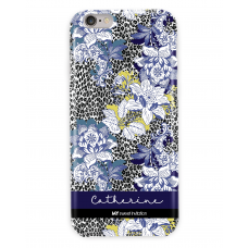Leopard Grey Floral Blue Case